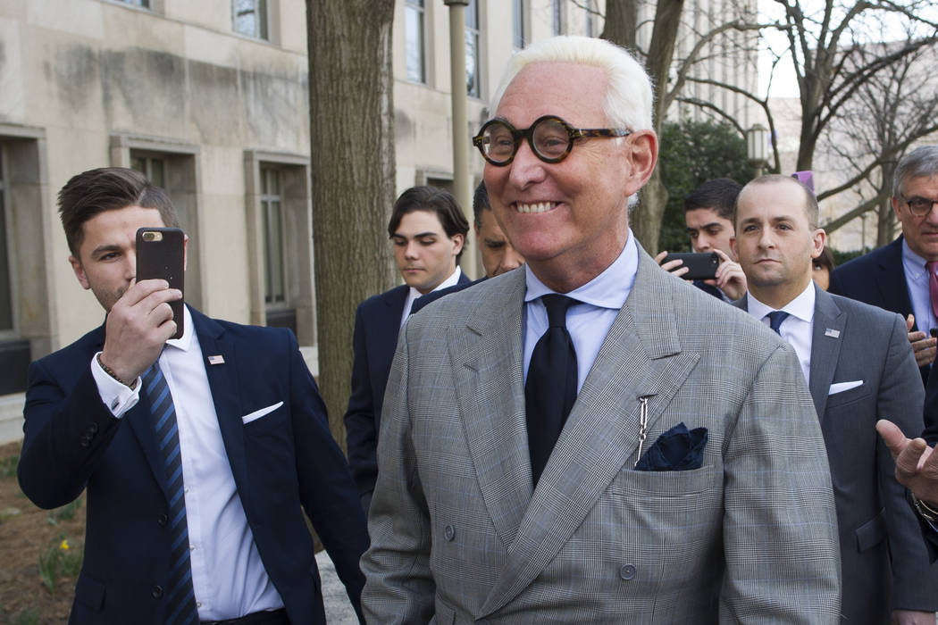 Roger Stone, an associate of President Donald Trump, leaves the U.S. District Court, after a court status conference on his seven charges: one count of obstruction of an official proceeding, five ...