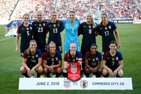 In this photo taken Thursday, June 2, 2016, the United States team poses for a team photo before their international friendly soccer match against the Japan in Commerce City, Colo. (AP Photo/Jack ...