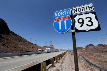 Interstate 11 near the Hoover Dam Bypass Bridge. (K.M. Cannon Las Vegas Review-Journal)