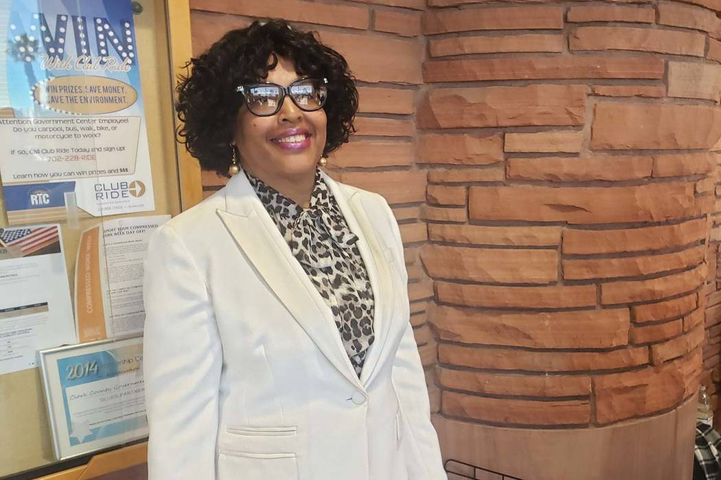 Retired Clark County fire inspector Marcia Washington was picked by the Clark County Commission on Friday, March 15, 2019, to fill the vacant seat of Kelvin Atkinson, who represe ...