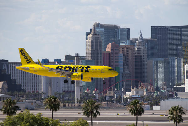 A Spirit Airlines flight prepares to land at McCarran International Airport in Las Vegas on Monday, July 23, 2018. (Richard Brian Las Vegas Review-Journal @vegasphotograph)