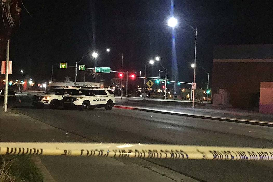 North Las Vegas police are investigating a homicide Friday, March 15, 2019, and Main Street is closed. (Lukas Eggen/Las Vegas Review-Journal)
