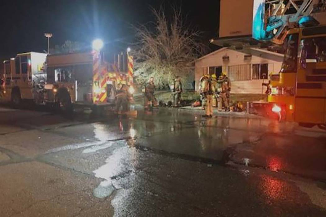 The Clark County Fire Department rescued two people from a house fire on Fairfax Avenue on Friday, March 15, 2019. (Clark County Fire Department)