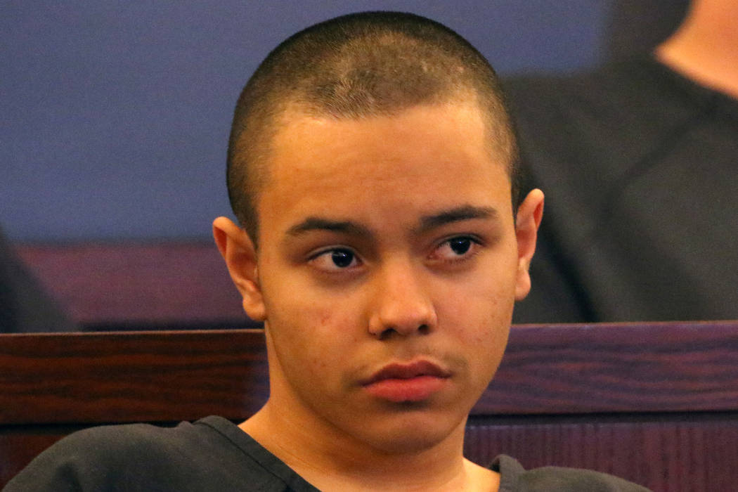 Miguel Magallon, 14, appears in court at the Regional Justice Center on Wednesday, March. 13, 2019, in Las Vegas. Magallon was arrested on suspicion of murder in the October death of an 18-year-ol ...