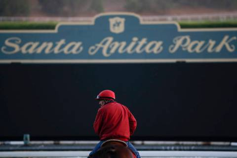 An outrider waits by the track as horses train for the Breeders' Cup horse races at Santa Anita Park in Arcadia, Calif. on Oct. 29, 2014. A person with direct knowledge of the situation says a 21s ...