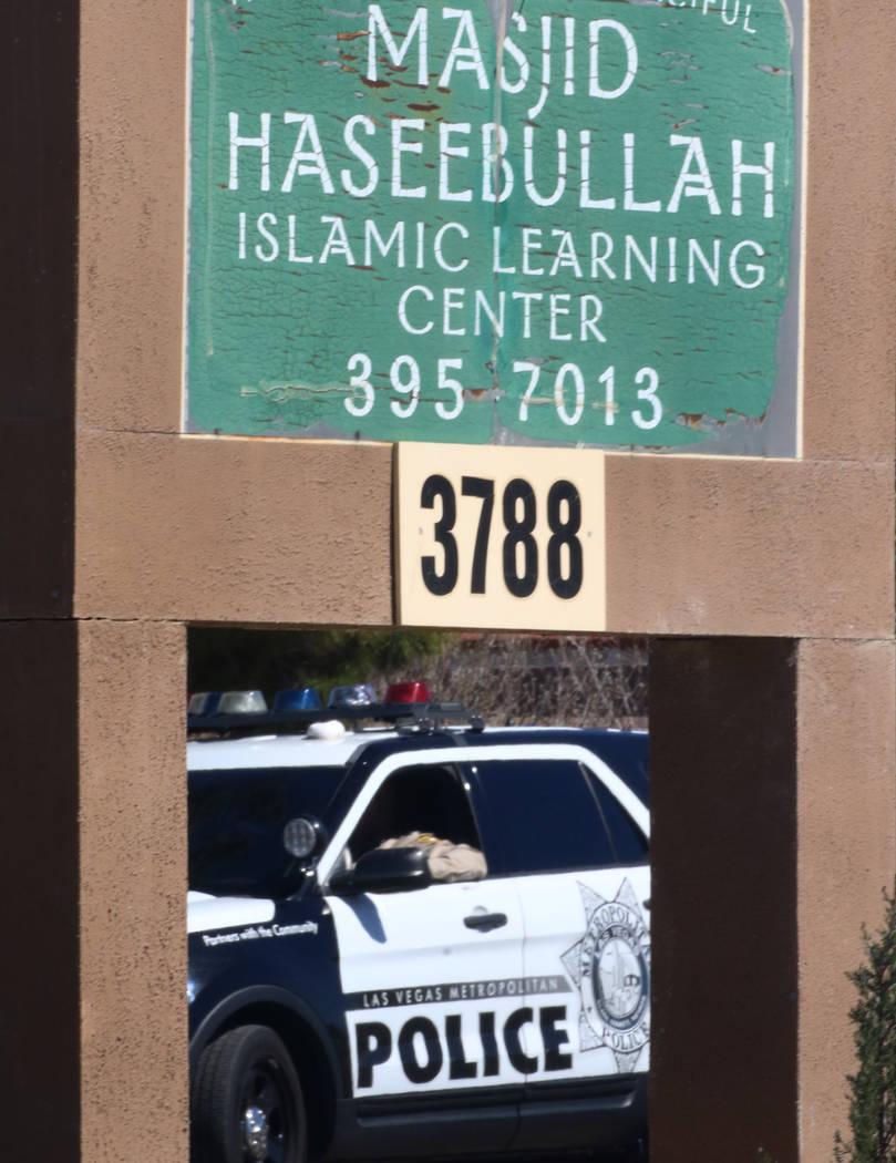 A Metro police officer sits in his patrol vehicle outside Masjid Haseebullah Mosque on Friday, March. 15, 2019, in Las Vegas. Bizuayehu Tesfaye Las Vegas Review-Journal @bizutesfaye