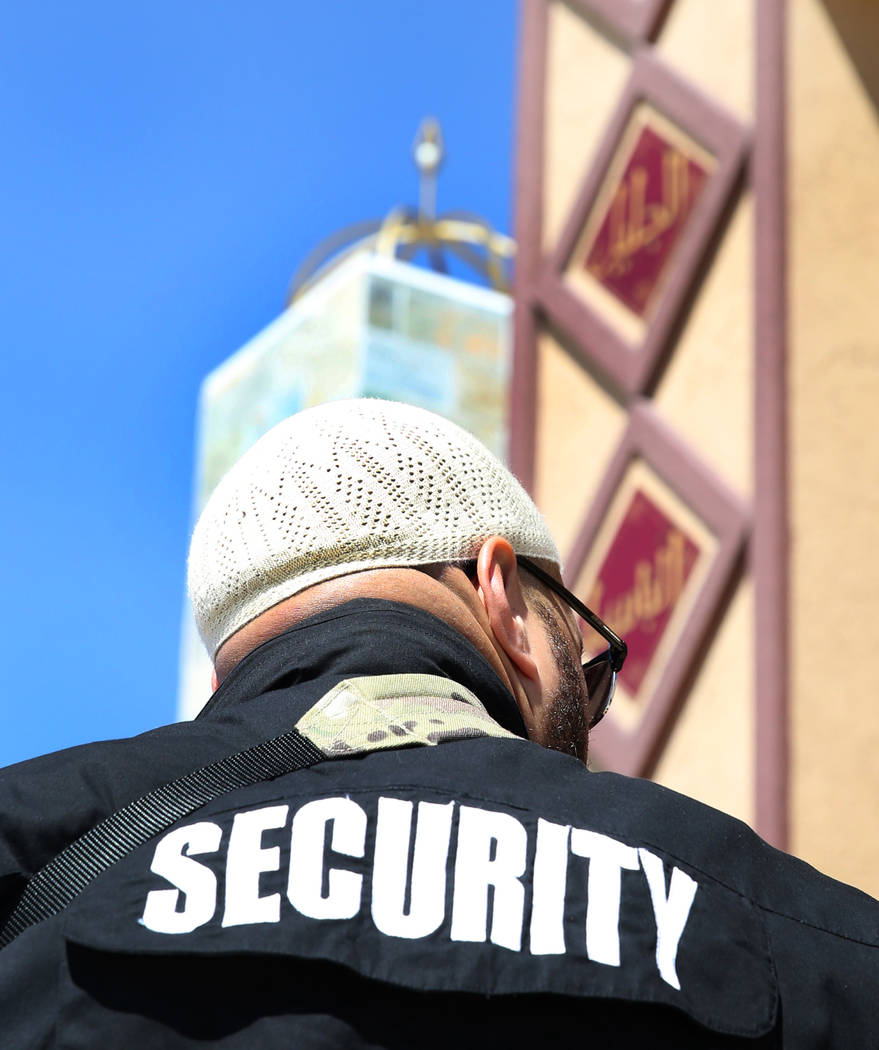 Jamal Ali, a volunteer security guard, stands guard outside Masjid Haseebullah Mosque on Friday, March. 15, 2019, in Las Vegas. Bizuayehu Tesfaye Las Vegas Review-Journal @bizutesfaye