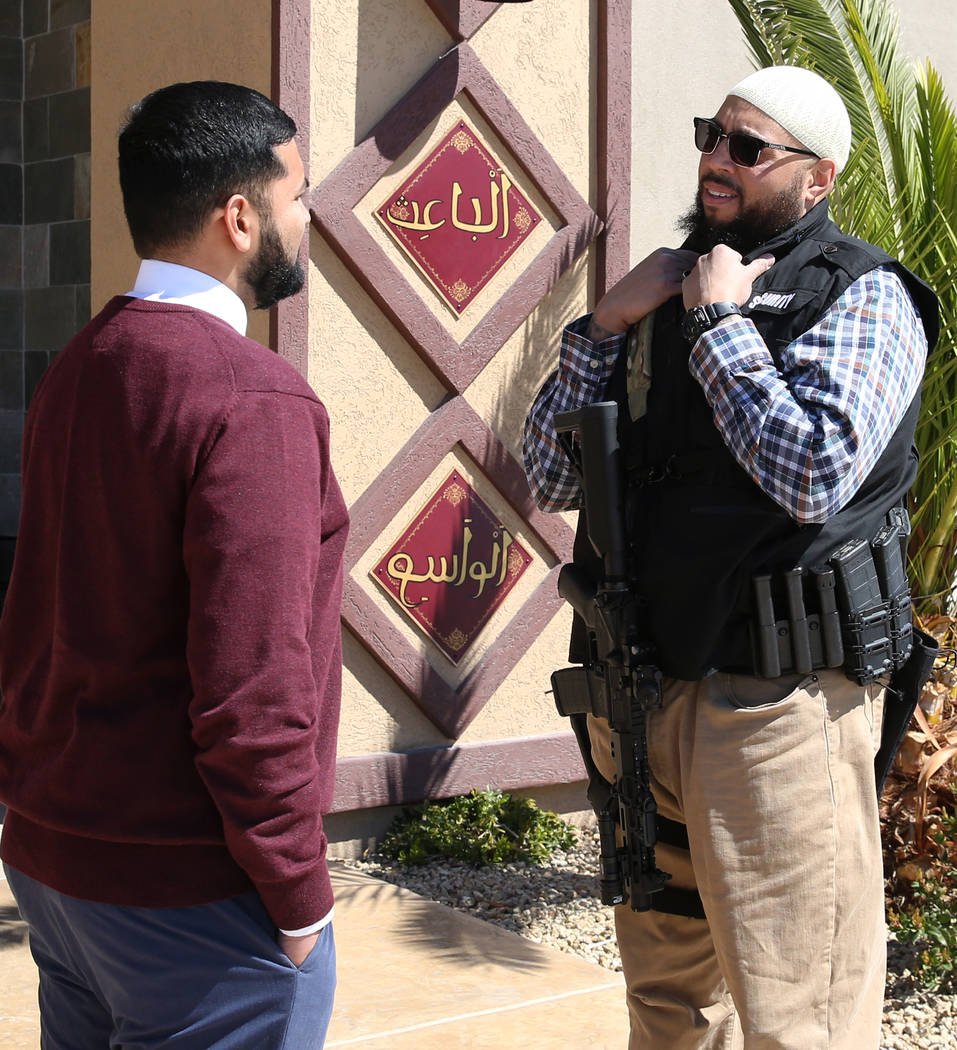 Athar Haseebullah, left, Masjid Haseebullah Mosque chairman, and Jamal Ali, a volunteer security guard, chat outside their mosque on Friday, March. 15, 2019, in Las Vegas. Bizuayehu Tesfaye Las Ve ...