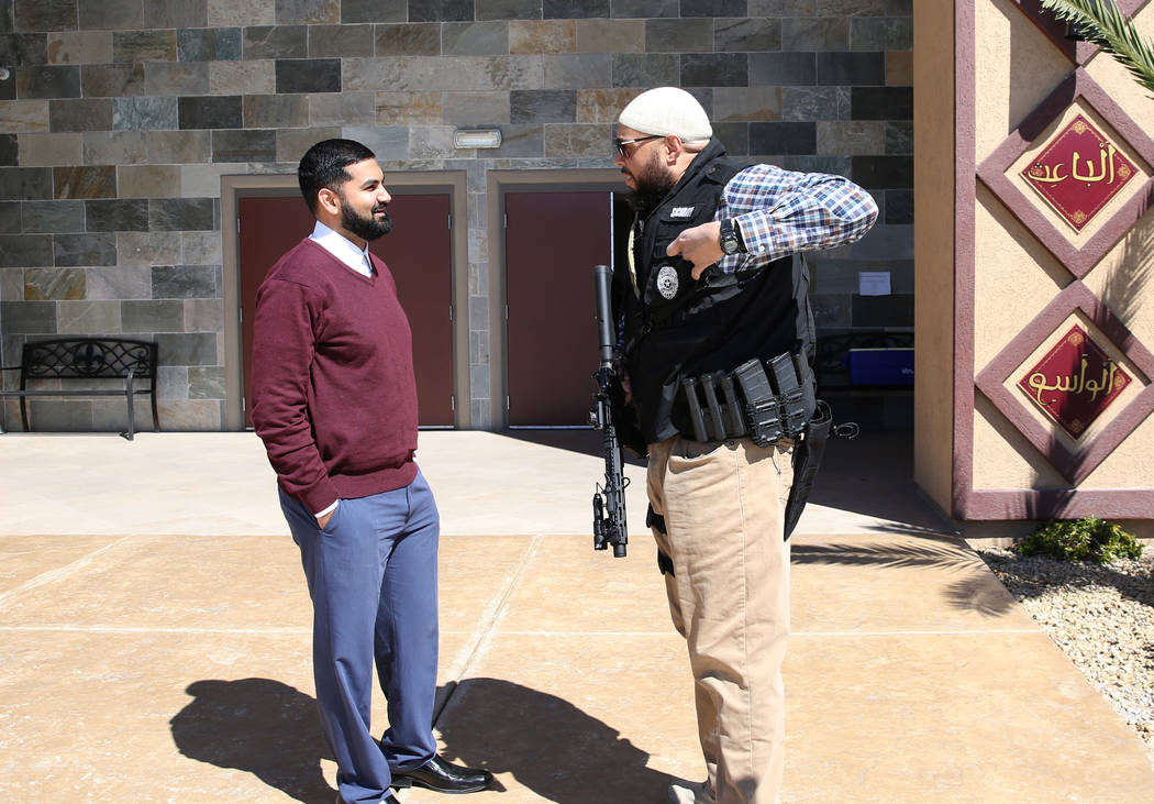 Athar Haseebullah, left, mosque chairman, and Jamal Ali, a volunteer security guard, chat outside the Masjid Ibrahim on Friday, March 15, 2019, in Las Vegas. BizuayehuTesfayeLas Vegas ...
