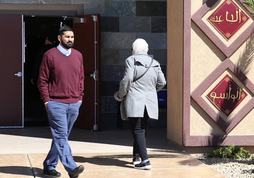 Athar Haseebullah, left, Masjid Haseebullah Mosque chairman, walks past a worshiper at Masjid Haseebullah Mosque on Friday, March. 15, 2019, in Las Vegas. Bizuayehu Tesfaye Las Vegas Review-Journ ...