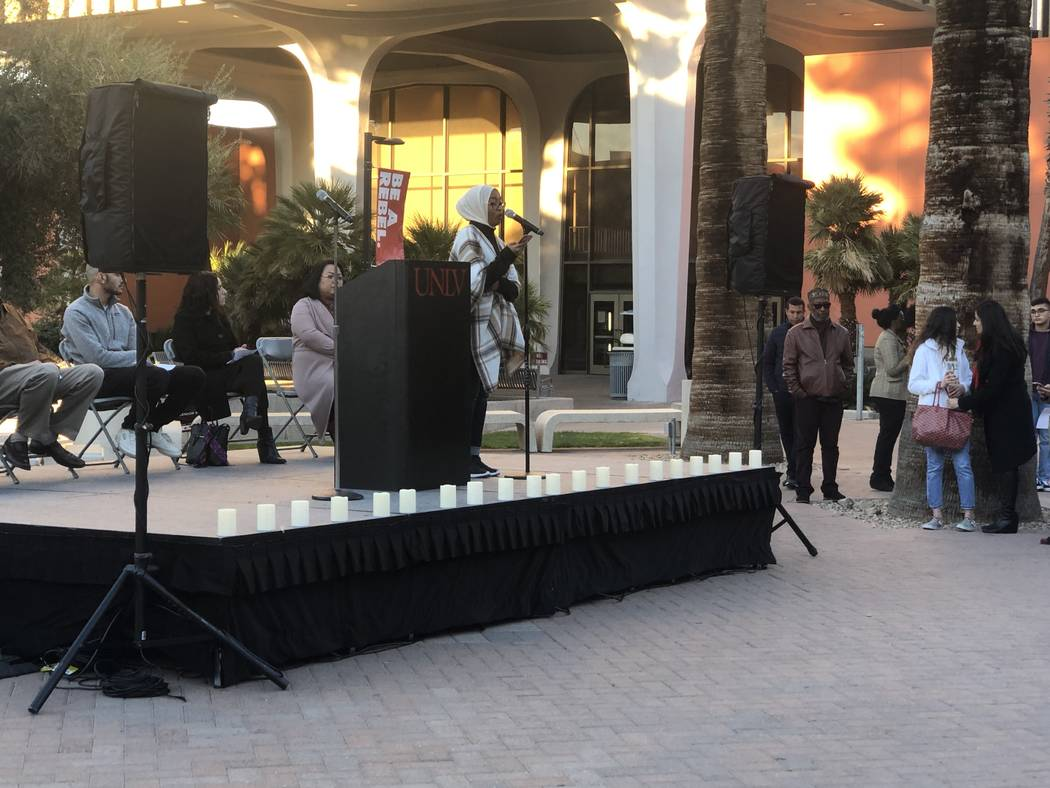 Tenasri Mohammed, the president of UNLV's Muslim Student Association, addresses a crowd at a vigil on Friday, March 15, 2019. (Katelyn Newberg/ Las Vegas Review-Journal)