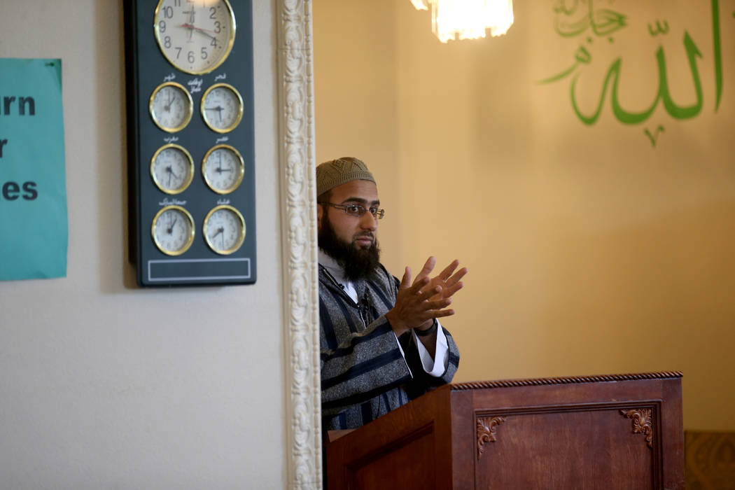 Shaykh Obair Katchi, Imam of Corona Masjid in California, during a prayer service at the Mosque of Islamic Society of Nevada in Las Vegas Friday, March 15, 2019. (K.M. Cannon/Las Vegas Review-Jour ...