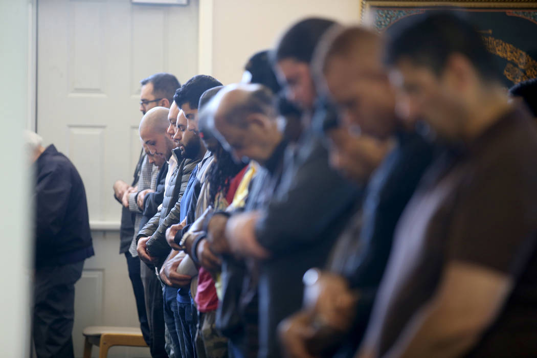 Worshipers during a prayer service at the Mosque of Islamic Society of Nevada in Las Vegas Friday, March 15, 2019. (K.M. Cannon/Las Vegas Review-Journal) @KMCannonPhoto