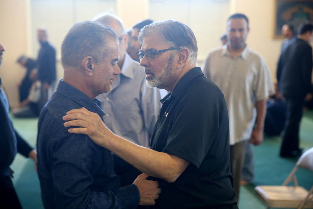 Fareed M. Khan, left, and Dr. Sohail Anjum after a prayer service at the Mosque of Islamic Society of Nevada in Las Vegas Friday, March 15, 2019. (K.M. Cannon/Las Vegas Review-Journal) @KMCannonPhoto