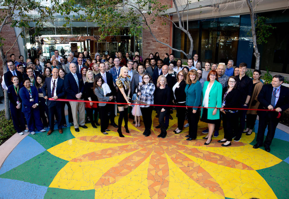 Gwen Stefani and childhood cancer survivor Kaila Elder cut the ribbon to officially recognize the new home of Cure 4 The Kids Foundation in the One Breakthrough Way building on the Summerlin campu ...