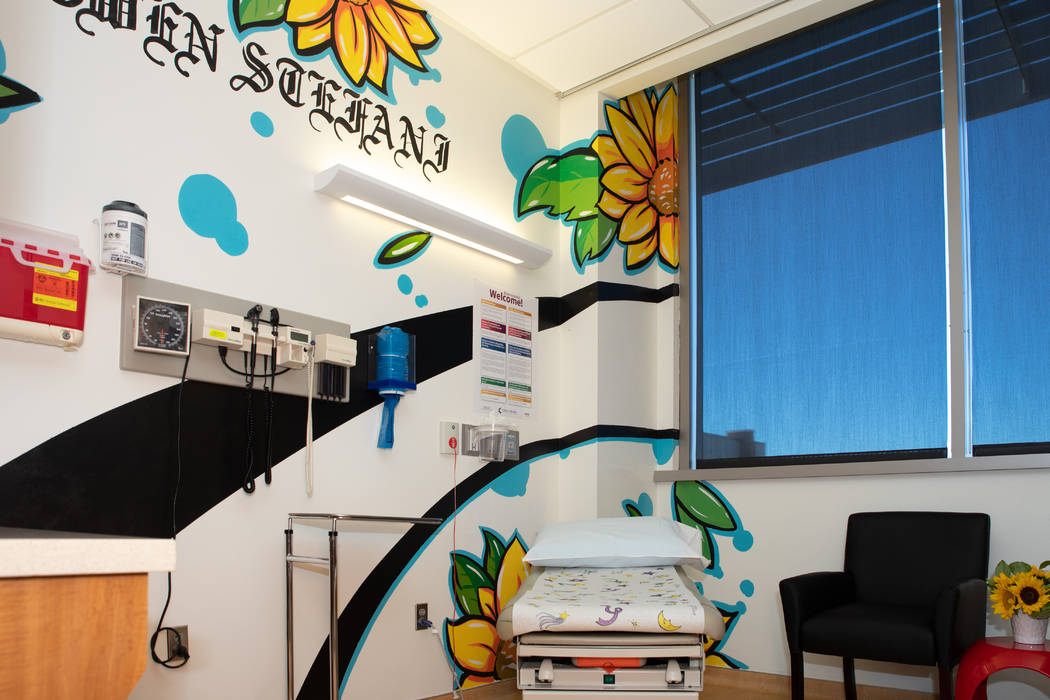 A look at the first themed room, in honor of Gwen Stefani, at Cure 4 The Kids Foundation treatment center at One Breakthrough Way. Las Vegas artist Juan Muniz created the design. (Tonya Harvey)