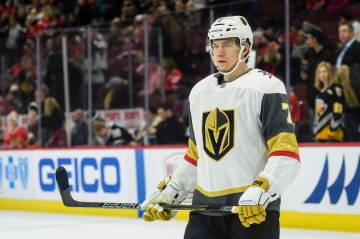 Vegas Golden Knights right wing Valentin Zykov (7) warms up before an NHL hockey game between the Vegas Golden Knights and the Chicago Blackhawks on January 12, 2019, at the United Center in Chica ...