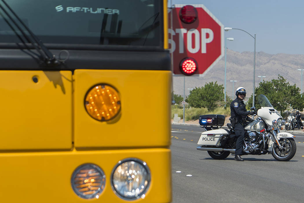 Clark County School District Police Department holds a mock traffic stop at Centennial High School in Las Vegas, Monday, Aug. 6, 2018. (Las Vegas Review-Journal)