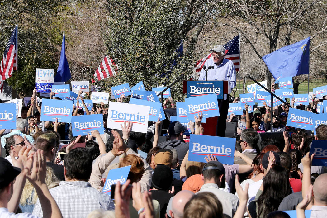 Democratic presidential candidate Sen. Bernie Sanders addresses his supporters at a rally at Morrell Park as part of a tour launching his presidential campaign in Henderson, Saturday, March 16, 20 ...