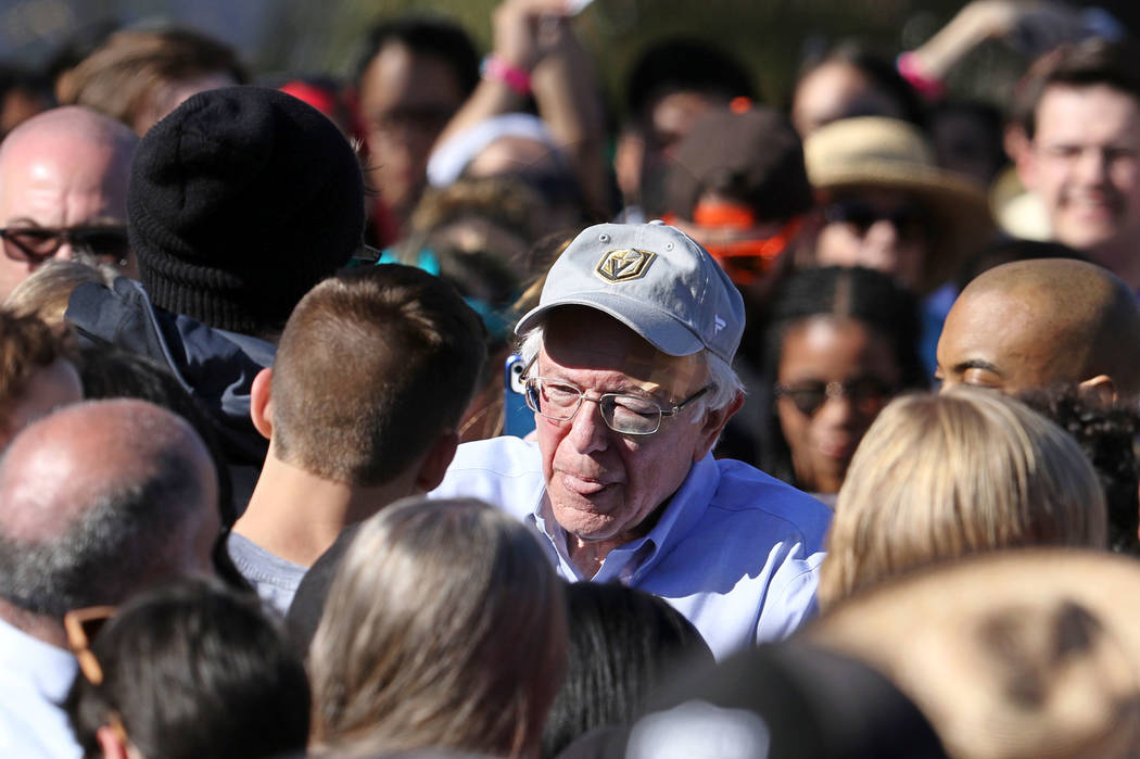 Democratic presidential candidate Sen. Bernie Sanders meets with his supporters at a rally at Morrell Park in Henderson on a tour to launch his presidential campaign, Saturday, March 16, 2019. (He ...
