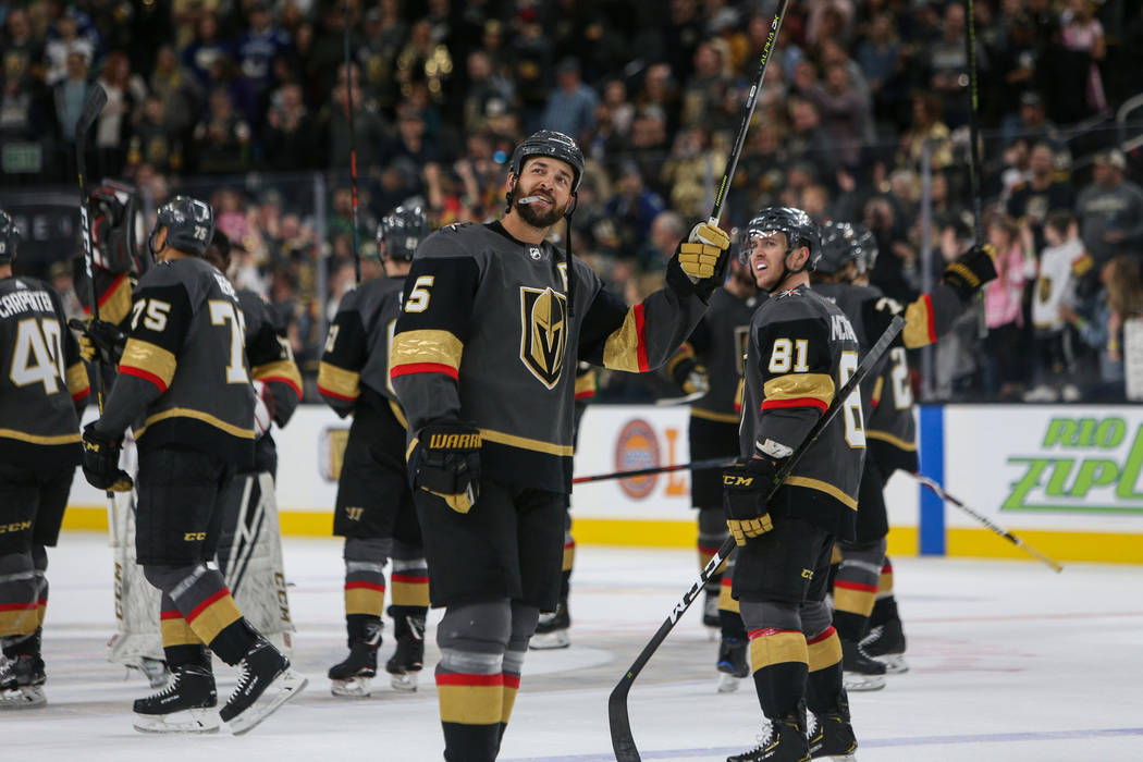 Vegas Golden Knights defenseman Deryk Engelland (5) looks out at the crowd after the Vegas Golden Knights win against the Vancouver Canucks 3-0 during an NHL hockey game at T-Mobile Arena in Las V ...