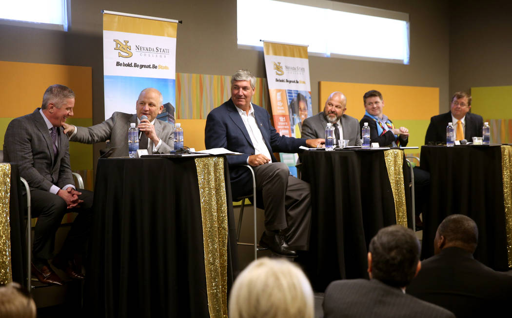Kerry Bubolz, president of Vegas Golden Knights, from left, Marc Badain, president of Raiders, Bill Laimbeer, head coach of Las Vegas Aces, Chuck Johnson, general manager of Las Vegas Aviators, Br ...