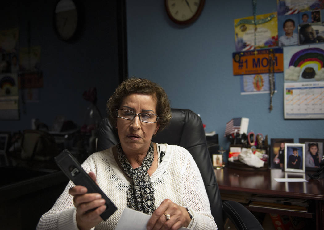 Secretary Rosa Madrigal works at her desk at Lunas Construction in Las Vegas, Tuesday, March 19, 2019. (Caroline Brehman/Las Vegas Review-Journal) @carolinebrehman