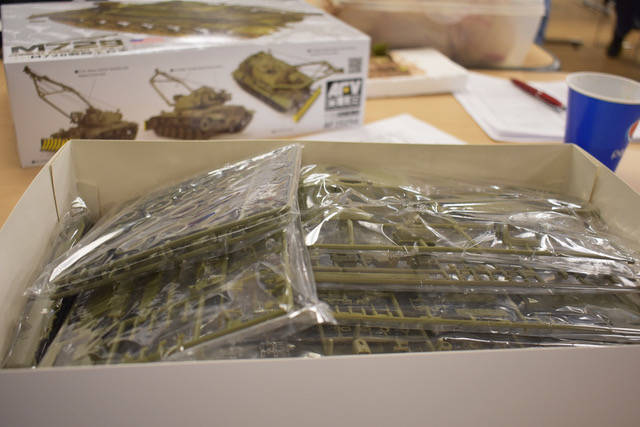 An unbuilt model kit of a armored tank. (Rachel Spacek/Las Vegas Review-Journal @Rachel Spacek)