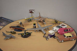 Some aircraft and automotive models showcased at the International Modelers Society meeting of the Las Vegas chapter on Wednesday, March 13. (Rachel Spacek/Las Vegas Review-Journal @Rachel Spacek)
