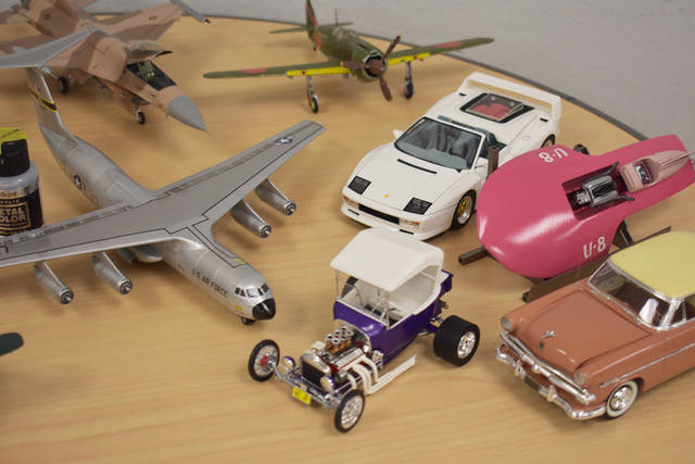 """Automotive and aircraft models on display for IPMS members to look at during the """"mingling"""" portion of the Las Vegas chapter meeting on Wednesday, March 13. (Rachel Spacek/Las Vegas Review-Journal ..."""