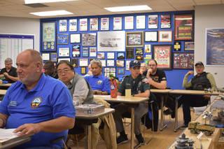 International Plastic Modelers Society members of the Las Vegas chapter sit in a group meeting in Findlay Chevrolet's community room. They met on Wednesday, March 13. (Rachel Spacek/Las Vegas Revi ...