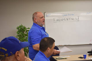 Joe Porche, chairman of the IPMS region 8— that includes the southern Nevada chapters— stands up to give a presentation on what is happening in the club around the region. (Rachel Spacek/Las V ...