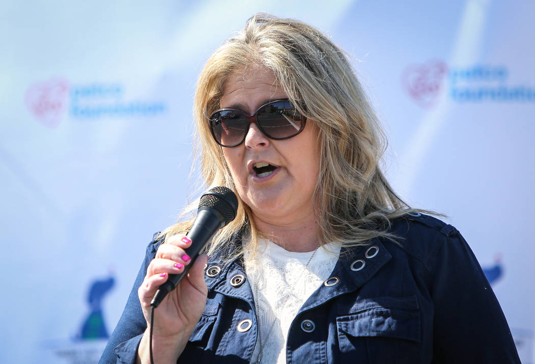 """Rae Erickson, founder of Pups, Prisoners, & Patriots, speaks as the Nevada Department of Corrections partners with the """"Those Left Behind"""" Foundation to provide veterans in the commu ..."""