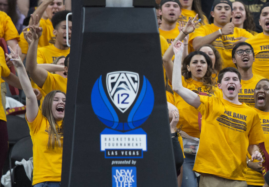 Arizona State fans cheer for the Sun Devils in the second half during their semifinal game of the Pac-12 tournament with Oregon on Friday, March 15, 2019, at T-Mobile Arena, in Las Vegas. The Duck ...
