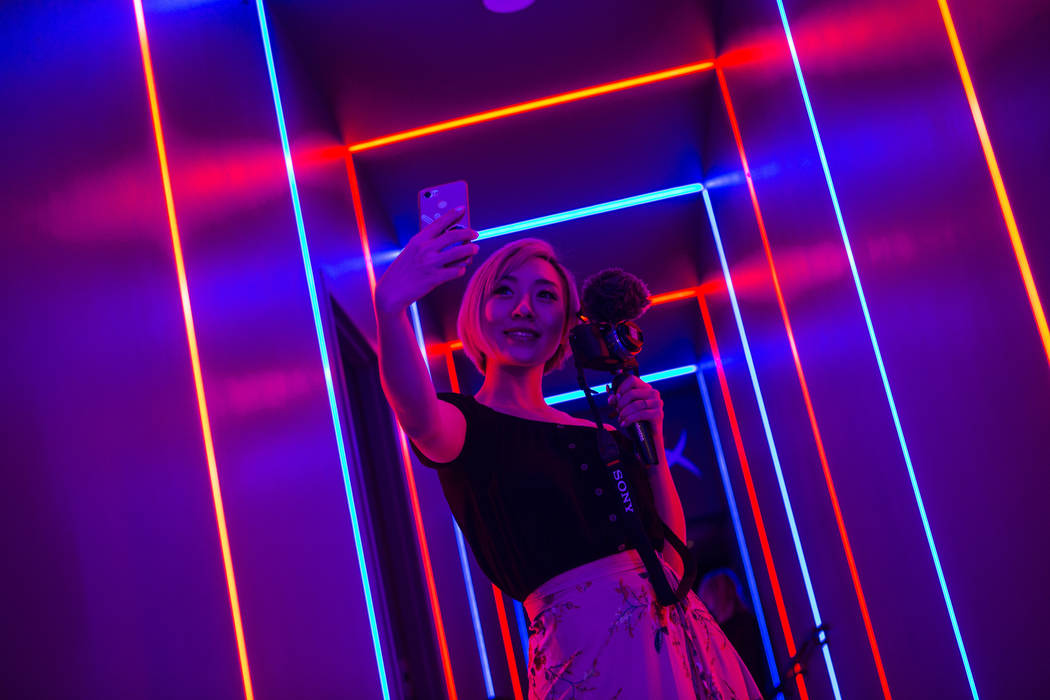 Cosplayer and influencer Stella Chuu poses for a picture while visiting the HyperX Esports Arena at the Luxor as part of the 1,000 Dreams Fund's BroadcastHER Academy Challenge in Las Vegas on Frid ...
