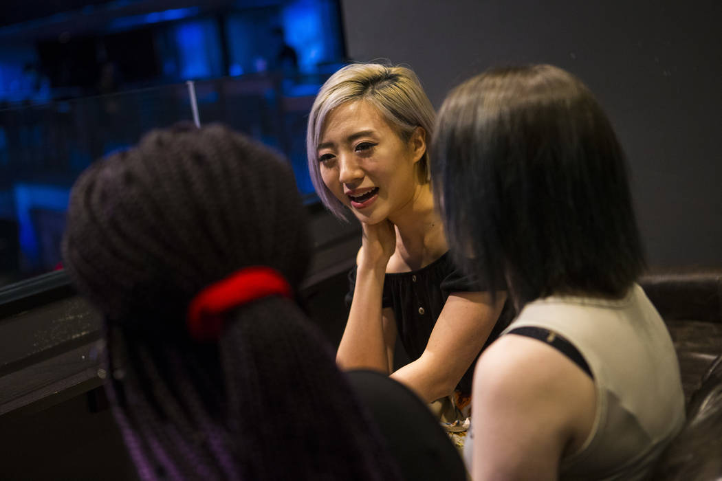 Cosplayer and influencer Stella Chuu talks grant recipients Alesha DeBose, left, and Giselle Colon while visiting the HyperX Esports Arena at the Luxor as part of the 1,000 Dreams Fund's Broadcast ...