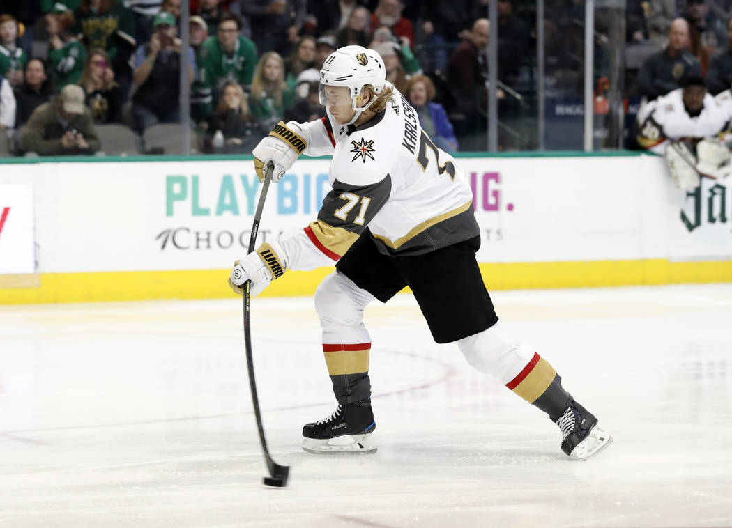 Vegas Golden Knights center William Karlsson (71) shoots a penalty shot that was blocked by Dallas Stars goaltender Anton Khudobin, not pictured, in the second period of an NHL hockey game in Dall ...