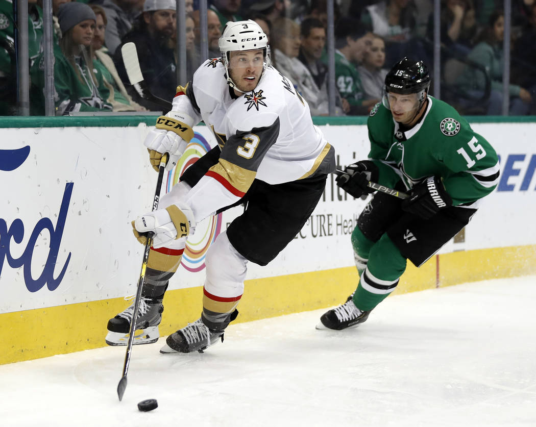 Vegas Golden Knights defenseman Brayden McNabb (3) controls the puck in front of Dallas Stars' Blake Comeau (15) in the first period of an NHL hockey game in Dallas, Friday, March 15, 2019. (AP Ph ...