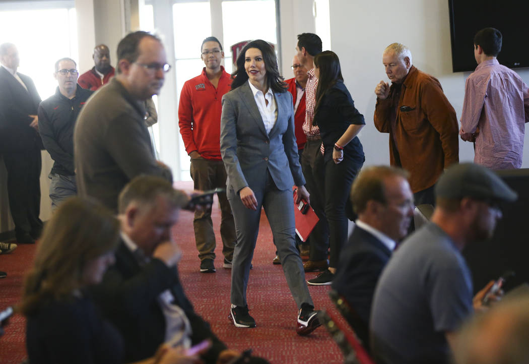 UNLV athletic director Desiree Reed-Francois arrives to talk about the search for a new basketball head coach in Las Vegas on Friday, March 15, 2019. Marvin Menzies, who led the program for three ...