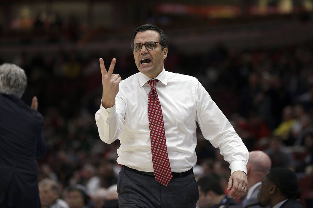 Nebraska head coach Tim Miles argues a call during the second half of an NCAA college basketball game against the Maryland in the second round of the Big Ten Conference tournament, Thursday, March ...