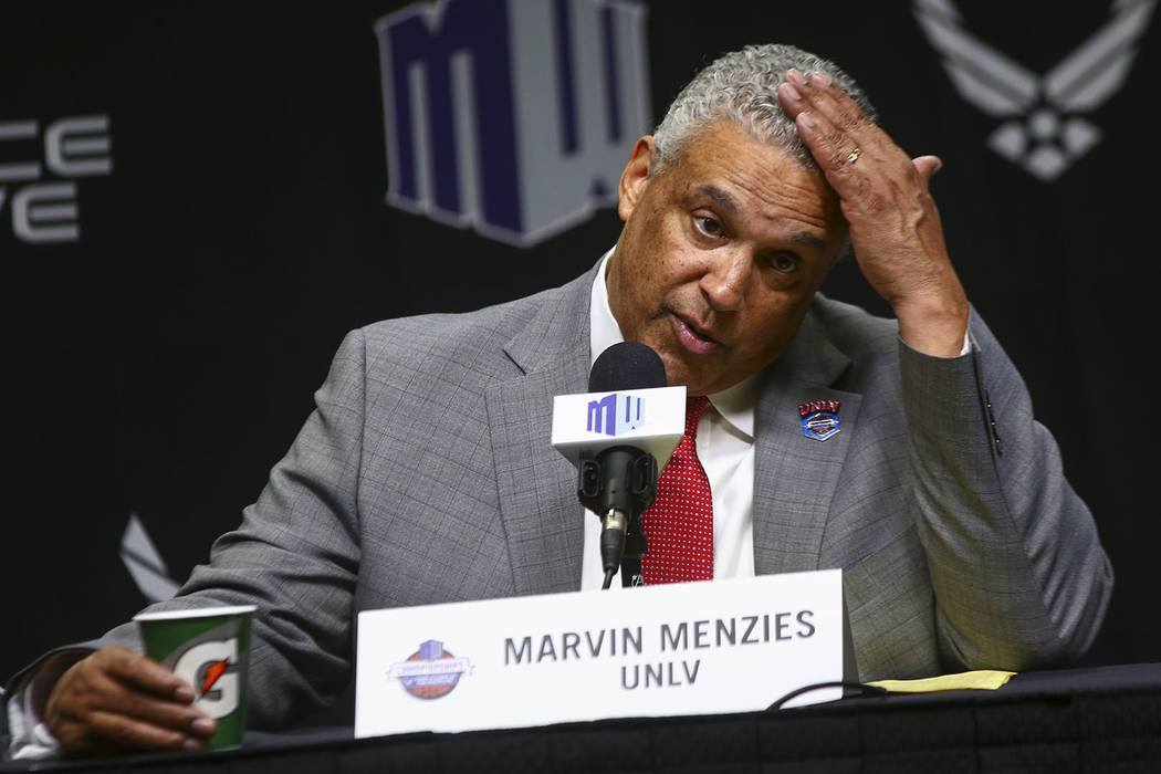 UNLV Rebels head coach Marvin Menzies speaks after his team's loss to San Diego State in the Mountain West men's basketball tournament at the Thomas & Mack Center in Las Vegas on Thursday, March 1 ...