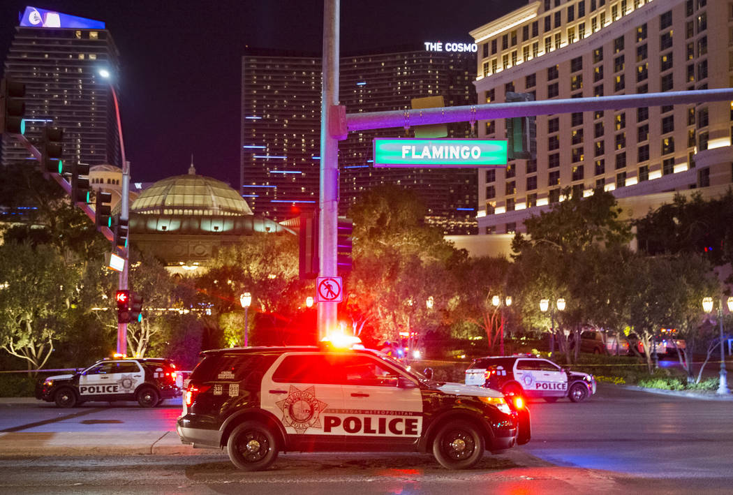 Las Vegas police respond to an officer-involved shooting in front of Bellagio on Friday, March 15, 2019, in Las Vegas. (Benjamin Hager Review-Journal) @BenjaminHphoto