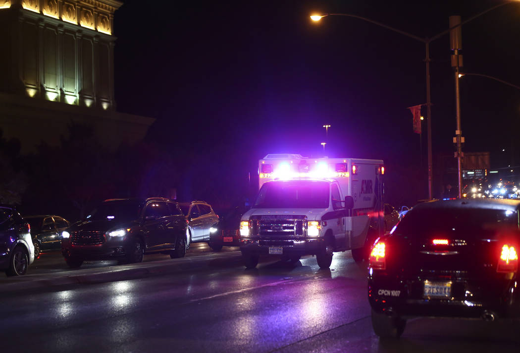 An ambulance heads to the Bellagio after police fired at a robbery suspect in Las Vegas on Friday, March 15, 2019. (Chase Stevens/Las Vegas Review-Journal) @csstevensphoto