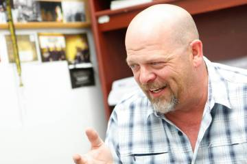 "Rick Harrison of the reality TV show ""Pawn Stars"" speaks during an interview with the Review-Journal at Gold & Silver Pawn shop in downtown Las Vegas on Thursday, July 17, 2014. (Chase Stevens/Las ..."