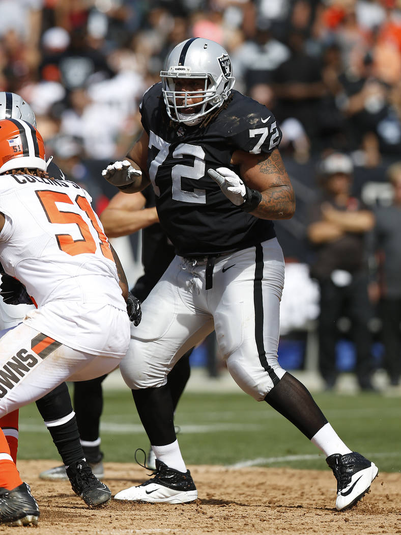 Oakland Raiders tackle Donald Penn (72) against the Cleveland Browns during an NFL football game in Oakland, Calif., Sunday, Sept. 30, 2018. (AP Photo/D. Ross Cameron)