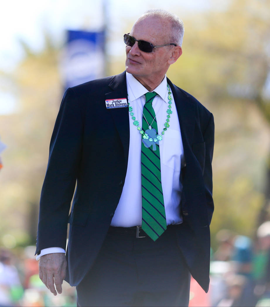 Henderson Municipal Chief Judge Mark Steven walks in the 53rd Annual Southern Nevada Sons & Daughters of Erin St. Patrick's Day parade in Henderson, Nev., on Saturday, March 16, 2019. Brett Le ...