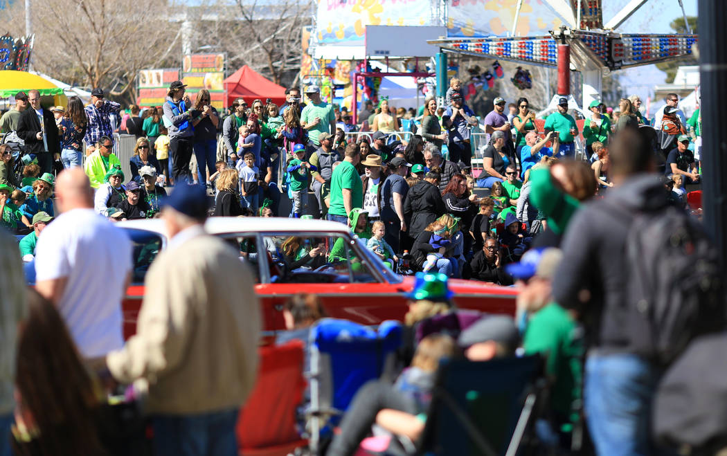 Parade goers line Water Street in Henderson, Nev., the 53rd Annual Southern Nevada Sons & Daughters of Erin St. Patrick's Day parade on Saturday, March 16, 2019. Brett Le Blanc/Las Vegas Revie ...