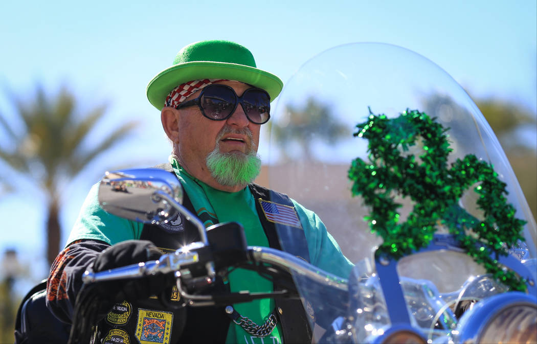 Dennis Spelingagri rides his motorcycle in the 53rd Annual Southern Nevada Sons & Daughters of Erin St. Patrick's Day parade in Henderson, Nev., on Saturday, March 16, 2019. Brett Le Blanc/Las ...