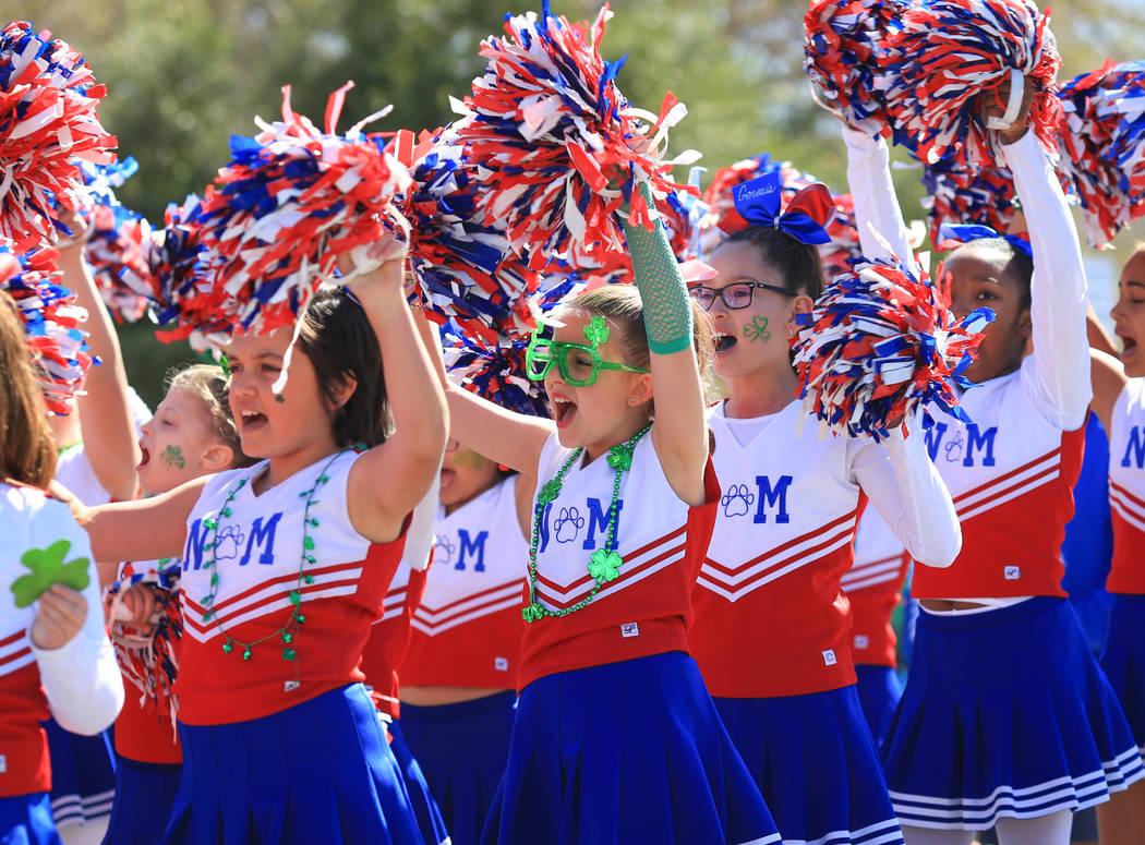 The Nate Mack Spirit Squad performs in the 53rd Annual Southern Nevada Sons & Daughters of Erin St. Patrick's Day parade in Henderson, Nev., on Saturday, March 16, 2019. Brett Le Blanc/Las Veg ...