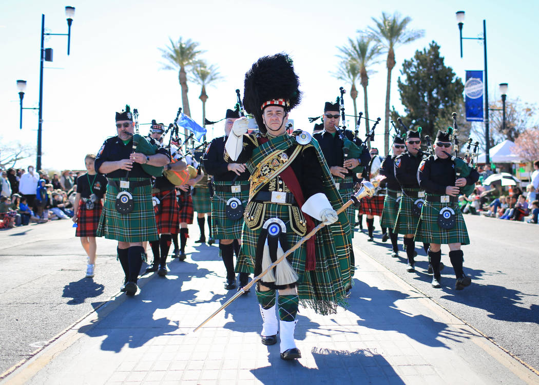 The Las Vegas Emerald Society marches in the 53rd Annual Southern Nevada Sons & Daughters of Erin St. Patrick's Day parade in Henderson, Nev., on Saturday, March 16, 2019. The Emerald society ...